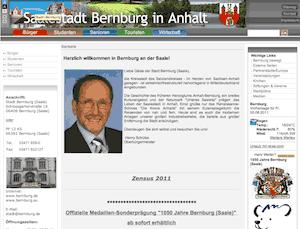 Die Webseite der Stadtverwaltung Bernburg