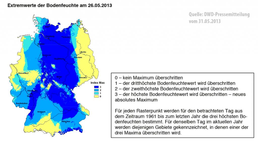 Die Abbildung zeigt die Bedingungen am Beispiel von Flächen mit Wintergetreide auf leichten Standorten. Während zu diesem Zeitpunkt in Deutschland im Mittel eine Bodenfeuchte von ca. 60 Prozent nutzbarer Feldkapazität besteht, sind es aktuell 95 Prozent. (Quelle: DWD)
