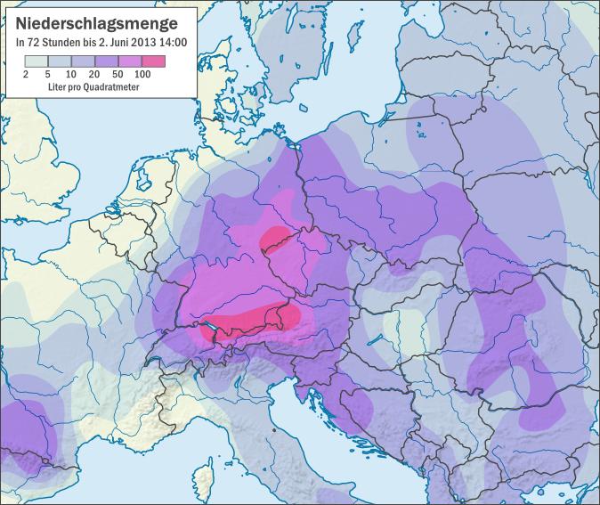 Karte der Niederschlagsmenge in 72 Stunden (Liter pro Quadratmeter) in Zentraleuropa bis 2. Juni 2013, Quelle: Wikipedia, Autor: Alexrk2 (This file is licensed under the Creative Commons Attribution-Share Alike 3.0 Unported license.)