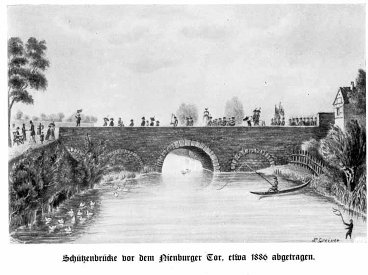 """Zeichnung der  Schützenbrücke über den Umflutkanal vor dem Nienburger Tor um 1886 von L. Greiner aus """"Bernburger Kalender"""" 1937 12. Jg. S. 9"""
