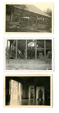 """oben/Mitte: """"Der Gymnastikraum im Lohelandgarten im Bau, Seitenansicht. undatiert (1935-1936)"""", unten: """"Der Gymnastiksaal im Lohelandhaus von Magdalena Trenkel (mit Kachelofen), undatiert (um 1936/37)."""" Quelle: Nachlass von Magdalena Commichau-Trenkel/Renate Müller, Schenkung Dr. Heinrich Trenkel, Berlin, an das Archiv der Loheland-Stiftung (Inv.Nr. FB-1/930-1/2/3)."""