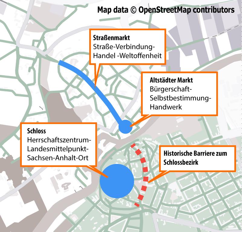 Es gibt mehr als EIN kulturelles Zentrum in Bernburg: Einige Assoziationen zu historischen Bernburger Stadträumen (Map data © OpenStreetMap contributors)
