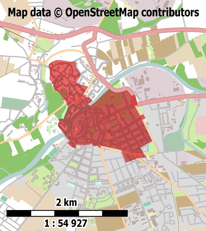 Der Geltungsbereich des ISEK-Entwurfs richtet sich nicht an Lebensräumen, sondern an dem Gebiet der Gesamtmaßnahme des städtebaulichen Denkmalschutzes aus. (Keine Haftung für die Richtigkeit der Kartendarstellung! Map data © OpenStreetMap contributors.