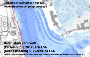 Die Bernburger Stadtgräben sind auf der neuen Hochwassergefahrenkarte gut zu erkennen.