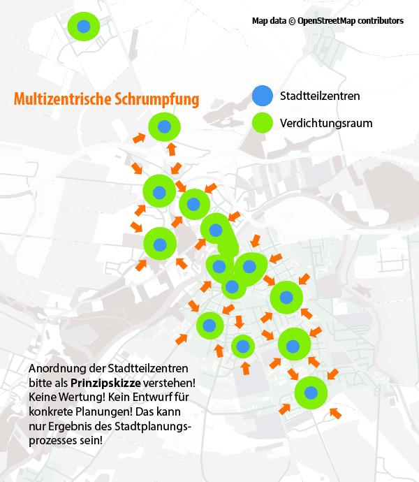 """Prinzipskizze (!) für das das """"multizentrische Schrumpfen"""". Verdichtete Stadträume bleiben als Stadtviertel erhalten, zwischen diesen entsteht Raum für Grün. Achtung! Diese Skizze soll keine Planungsgrundlage sein! Die Verteilung der einzelnen Verdichtungsräume kann nur Ergebnis eines integrierten Stadtplanungsprozesses sein! (Kartendaten: © OpenStreetMap-Mitwirkende)"""