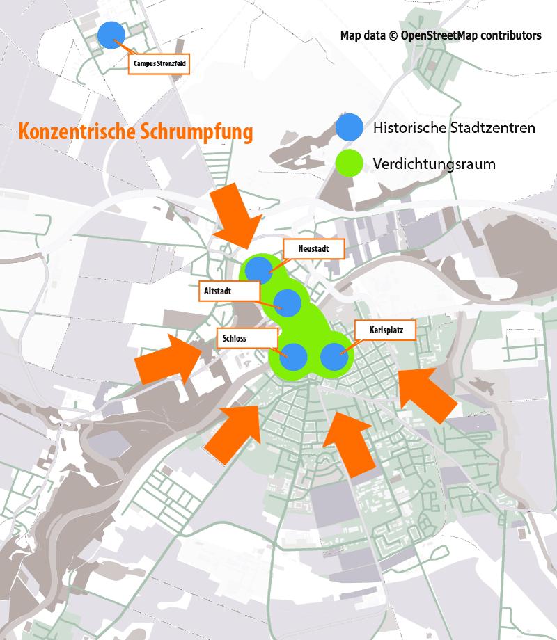 Bernburg ist schon aus seinem Entstehungsprozess heraus  multizentrisch angelegt. (Kartendaten: © OpenStreetMap-Mitwirkende)