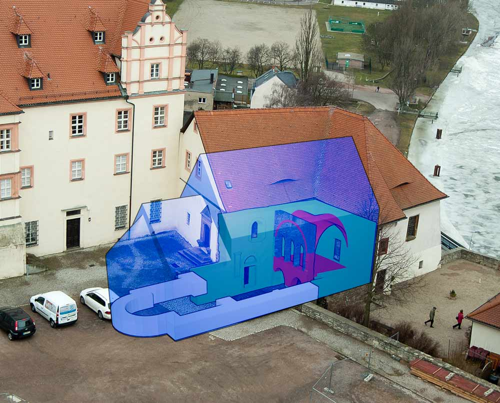 Schematische Rekonstruktion der Kubatur der Burgkapelle St. Pankratius auf dem Bernburger Schlosshof.