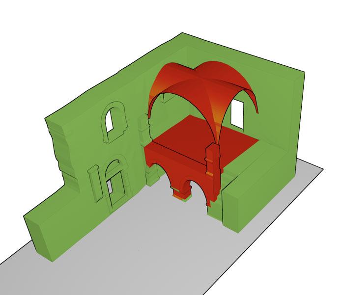 Rekonstruktion des Gewölbes des Obergeschosses der Empore nach den vorhandenen Gewölbeansätzen.