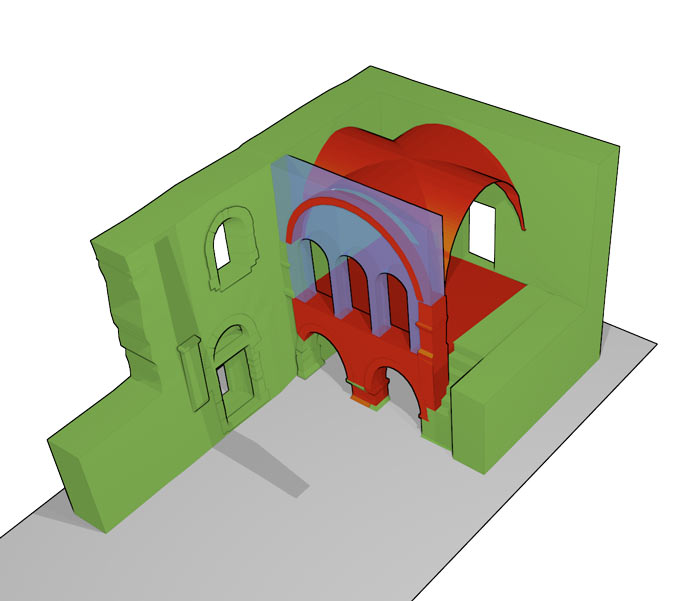 Fiktiver schematischer Vorschlag für die Gestaltung der Öffnung vom Obergeschoss der Westempore zum Kirchenschiff mit drei Arkadenbögen und zwei Säulen.