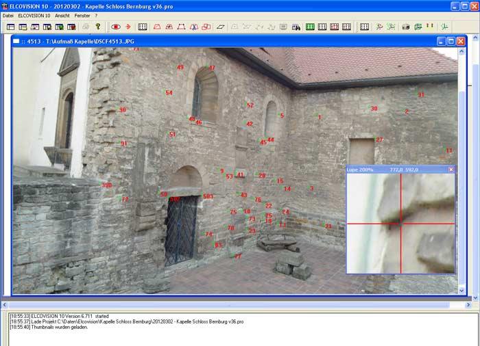 Um eine reale Grundlage für ein 3d-Modell zu erzeugen wurden die vorhandenen Baureste photogrammetrisch vermessen.