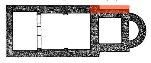 Rot: Korrektur der Wendler-Pläne. Eine Abweichung von der Symmetrie kann als wichtiger Hinweis auf ein ehemals angrenzendes Gebäude aufgefasst werden.