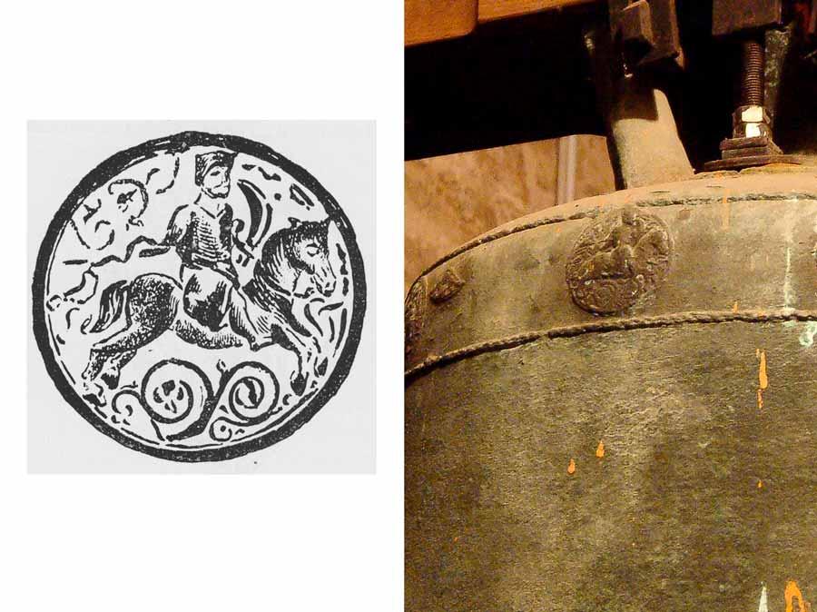 """Gröna, jüngere Glocke. Plakette mit der Abbildung eines Reiters. Quelle: Schubart,Friedrich Wilfried (1896)""""Die Glocken im Herzogtum Anhalt"""" S. 268"""