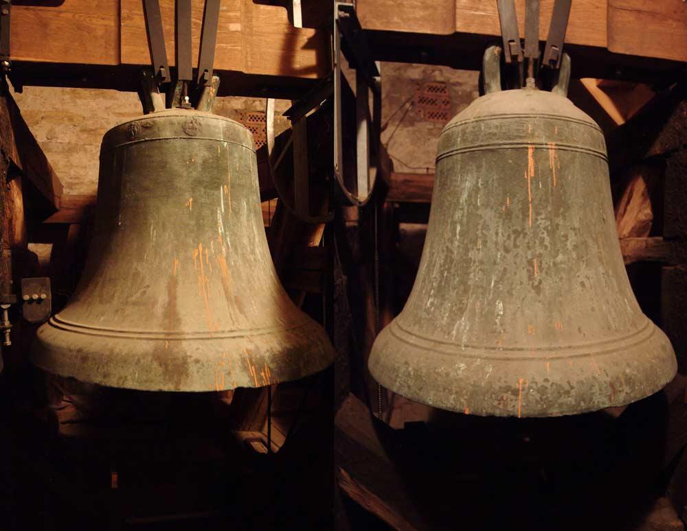 Die beiden Glocken der St. Petri-Kirche in Gröna. Rechts die nach Schubart ältere Glocke.
