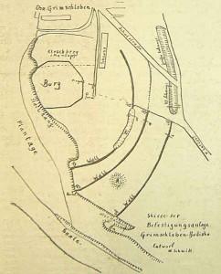 Burgward Grimschleben, Skizze des frühmittelalterlichen Burgwalls aus dem Jahr 1935 nach Walter Schmidt.
