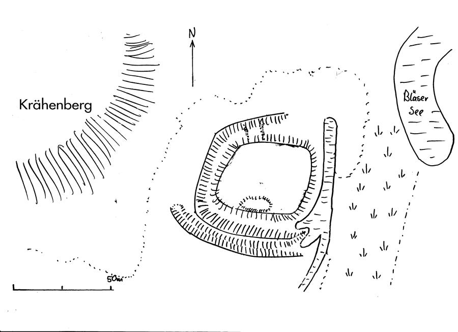 """Lageskizze der ehemaligen Wasserburg am """"Bleeser See""""."""