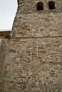 Der ehemalige erhöht liegende Zugang zum Wohngeschoss ist heute vermauert.