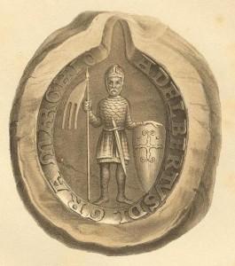 Siegel Albrechts des Bären. Quelle Wikipedia, Codex Diplomaticvs Anhaltinivs, Theil 1: 936-1212: mit zehn Siegeltafeln, hrsg. von Otto Heinemann; Dessau: Barth 1867-1873