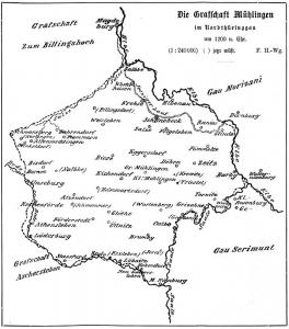 Umfang der Grafschaft Mühlingen nach Friedrich Heine. Geschichte der Grafschaft Mühlingen. Paul Schettlers Erben GmbH, Köthen 1900