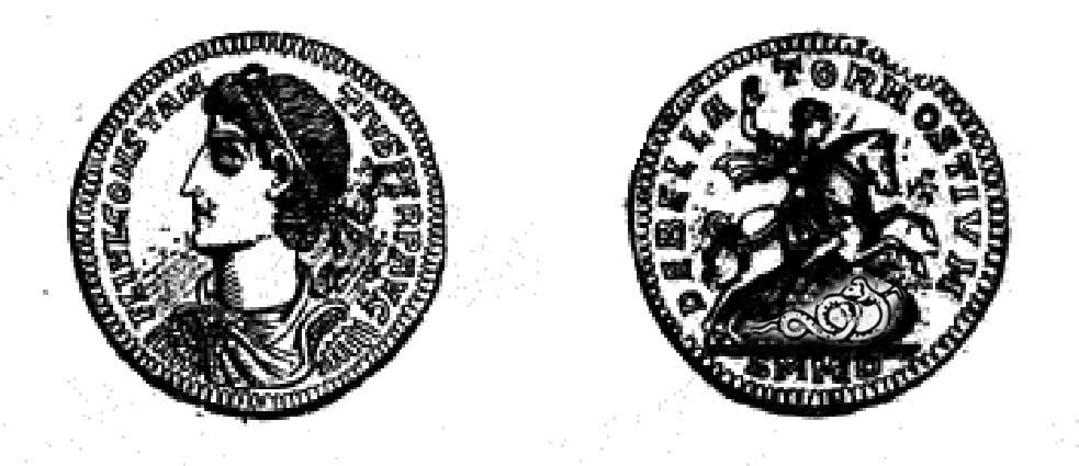 Dieses nach dem Sieg über den Usurpator Magnentius im Jahr 353 hergestellte Goldmedaillon stellt Kaiser Konstantin II. (317-340) und den besiegten Feind als Schlange dar. Bildquelle: Henry Cohen, Description historique des monnaies frappées sous l'Empire Romain, Band VII, Paris, 1888, S. 443.