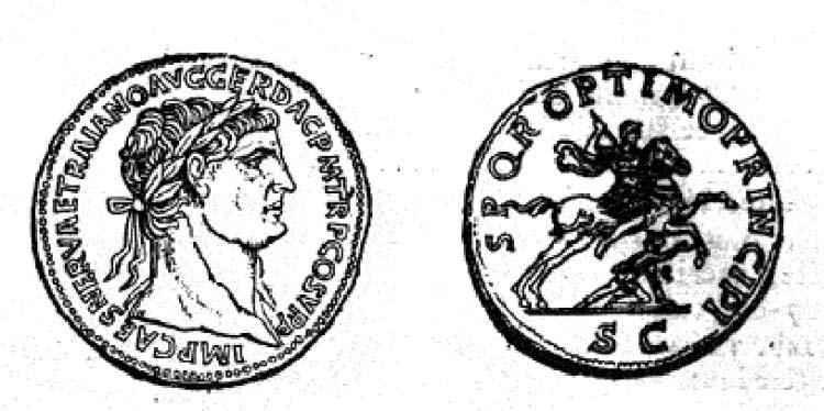 Siegesmedaille des Trajan (53-117) Bildquelle: Henry Cohen, Description historique des monnaies frappées sous l'Empire Romain, Tome II, Paris, 1882, S. 69.